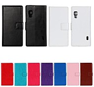 Solid Color PU Leather Full Body Case with Stand and Card Slot for LG L5 II (Assorted Color)