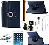 Litchi Rotating PU Leather with Protective Film、Stylus、Headset、Dust Plug 、Car Charger for iPad Air 2 (Assorted Colors)