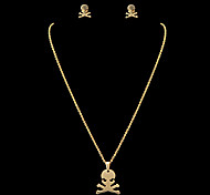 Fashion Human Skeleton Shape Golden Stainless Steel Jewelry Sets(1 Set)