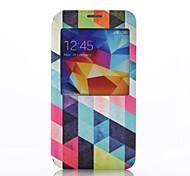 multicolore vista modello del diamante finestra pu custodia in pelle con supporto per i9600 Samsung Galaxy S5