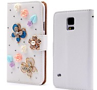 Wallet Style Diamond Butterfly Flower Flip Litchi PU Leather Case with Stand for Samsung Galaxy Note 4 Note IV N9100