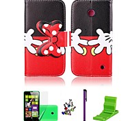 Hands Pattern Bowknot Buckle PU Leather Case with Screen Protector,Stylus, Dust Plug and Stand for Nokia Lumia 630/635