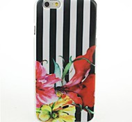 Vertical Stripes Flowers Pattern Hard Case for iPhone 6