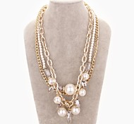 Fashion Crystal Pearls Ms 18K Gold Plating Necklace