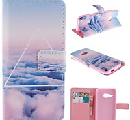 Beautiful Clouds Design PU Leather Full Body Case with Stand for HTC One M8 Mini