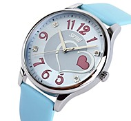 Women's Sweet Heart Dial Leather Band Fashion Wristwatch (Assorted Colors)