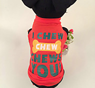 Cotton Fabric Printing Bones Pet Red T-shirt for Dogs Assorted Size
