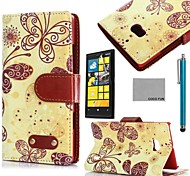 COCO FUN® Yellow Butterfly Pattern PU Leather Full Body Case with Screen Protector and Stylus for Nokia Lumia N930