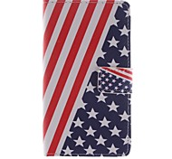 For LG Case Card Holder / Wallet / with Stand / Flip Case Full Body Case Flag Hard PU Leather LG
