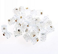 RJ11 Telephone Crystal Ethernet Head Quad Phone 2/4 Core Line (20pcs)