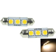 39MM(SV8.5-8) 2W 3x5054SMD 120-160LM 3000-3500K Warm White Light Led Bulb for Car License plate  Lamp 2PCS (DC12-16V)