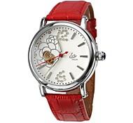 Frauenblumenstil silbernes Zifferblatt PU-Analog-Auto-mechanische Armbanduhr (farbig sortiert)