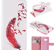 Beautiful Red Feather Design PU Leather Full Body Case with Stand for HTC One M8 Mini