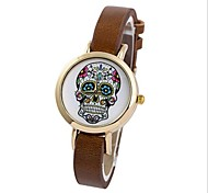 Women's Fashion Colorful Skull Slim Leather Quartz Wrist Watch(Assorted Colors)