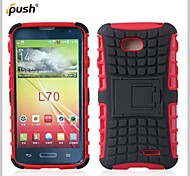 Hybrid TPU+PC Kick Stand Phone Case Covers Shell Cover for LG L70 (Assorted Colors)