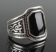 Z&X®  European Style Square Black Gem Men's Statement Ring