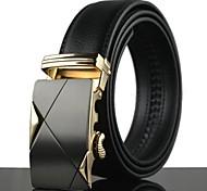 Men's Fashion Simple Alloy Automatic Buckle Business Leather Belt