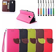 Leaf Buckle PU Leather Full Body Case with Card Slots with Touch Pen for Motorola G2 (Assorted Colors)