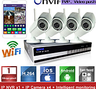 Sinocam® 4CH Wifi H.264 NVR Kit(4pcs Wireless 1.0MP 3.6mm Day Night Vision Weatherproof IP Camera),P2P