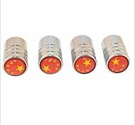 bricolage chinois motif de drapeau pneus universel bouchons de valve d'air - argent (4pcs)