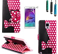 Rose Polka Dot Bow Pattern PU Leather with Touch Pen and Protective Film 2 Pcs for Samsung Galaxy Note 4