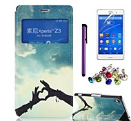 Hands of Love Pattern PU Leather Case with Screen Protector,Stylus and Anti-dust Plug for Sony Xperia Z3 L55T