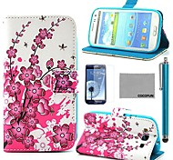 COCO FUN® Pink Floral Flower Pattern PU Leather Case with Screen Protector, Stylus and Stand for Samsung Galaxy S3 I9300