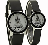 Couple's Eiffel Tower Pattern Round Dial Rubber Band Quartz Fashion Watch