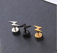 European Lightning Steel Stud Earrings(Black,Gold,Silver) (1 Pc)