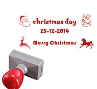 Personalized 33x63mm Christmas Santa Claus Elk Style 3 Lines Rectangle Engraved Photosensitive Signet Stamp(14 Letters)