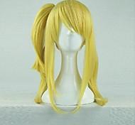 Perucas de Cosplay Fairy Tail Lucy Heartfilia Dourado Médio Anime Perucas de Cosplay 60 CM Fibra Resistente ao Calor Feminino