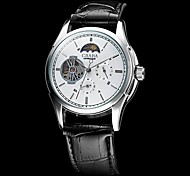 CJIABA Men's Auto-Mechanical White Dial Leather Band Wrist Watch (Assorted Colors)