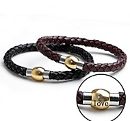 personalisiertes Geschenk Leder Seil Armband Edelstahl graviert Schmuck