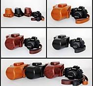 pajiatu® caixa protetora pu óleo de couro câmera pele retro para EM10 Olympus OM-d e-m10 com lente 14-42mm