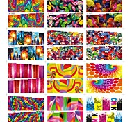 12Pcs Fish Butterfly Rainbow Pattern Mixed Water Transfer Nails Stick Decals 2D