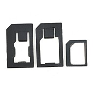 Nano SIM to Micro SIM with Nano SIM to SIM and Micro SIM to SIM Card Adapter Set for iPhone 3G/3GS/4/4S/5/6/6 Plus