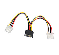 15Pin to Double 4Pin SATA Male to IDE Female Power Cable