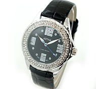 Women's Fashion Crystal Case PU Band Quartz Wrist Watch (Assorted Colors)