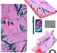 COCO FUN® Pink Branch Pattern PU Leather Case with Screen Protector and Stylus and Cable for Samsung Galaxy Note 4