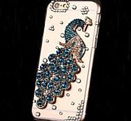diamantes de lujo flores de perlas de cristal de pavo real detrás encajona la cubierta para el iphone 6 (colores surtidos)