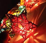 jiawen® 4m 20leds RGB LED de cadena con forma de estrella de cinco puntas luz cadena luz de la Navidad para la decoración (ac 110-220v)