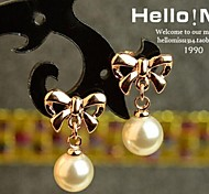 Love Is You Bowknot Pearl Drop Earrings