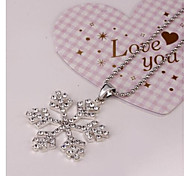 Frozen Snow Romance Necklace With Crystal Ice Enchanted Necklace Snowflake Pendant Long Necklace(1 Pc)