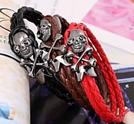 Fashion 17cm Mem's Multicolor Leather LeatherBracelet(1 Pc)