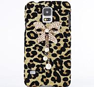 bowknot de la perla del leopardo de la borla de caso de la contraportada para Samsung Galaxy i9600 s5