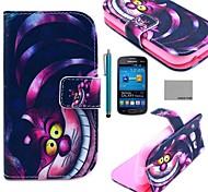 Coco Fun® patrón de dibujos animados del gato púrpura caja de cuero de la PU con el cine y lápiz para Samsung Galaxy Lite tendencia 7390/7392