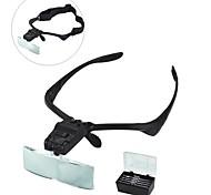 9892b Brillen Stirnband Stil 1.0x / 1.5x / 2.0x / 2.5x / 3.5x Lupe 2-LED-Licht - schwarz