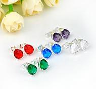 baisse branché quartz vert bleu topaze rose topaze améthyste pierre de quartz rouge Stud Argent quotidien boucles d'oreilles 1 paire