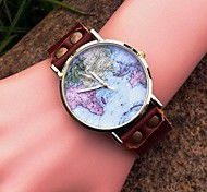 Women's High-grade Personalized Maps Dial Leather Quartz Movement Watches