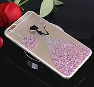 Transparent Butterfly Girl Relief Inlaid Rhinestones PC Hard Case for iPhone 6(Assorted Colors)